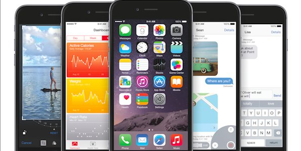 Un iPhone 6 avec iOS 8