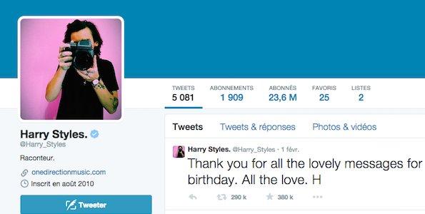 Compte Twitter de Harry Styles