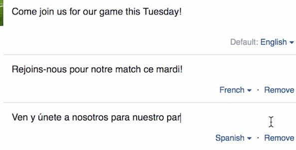 Facebook en plusieurs langues